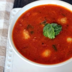 White Bean, Red Pepper and Tomato Soup with Ricotta Dumplings