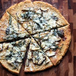 Shiitake, Basil and Lemon Cauliflower Pizza