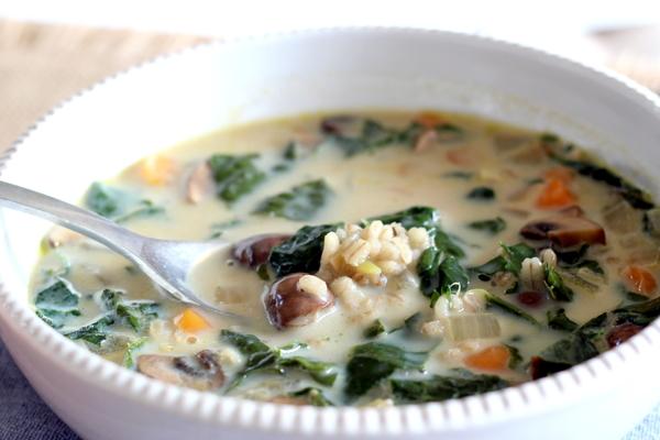 Comforting Mushroom Barley Soup (vegan)