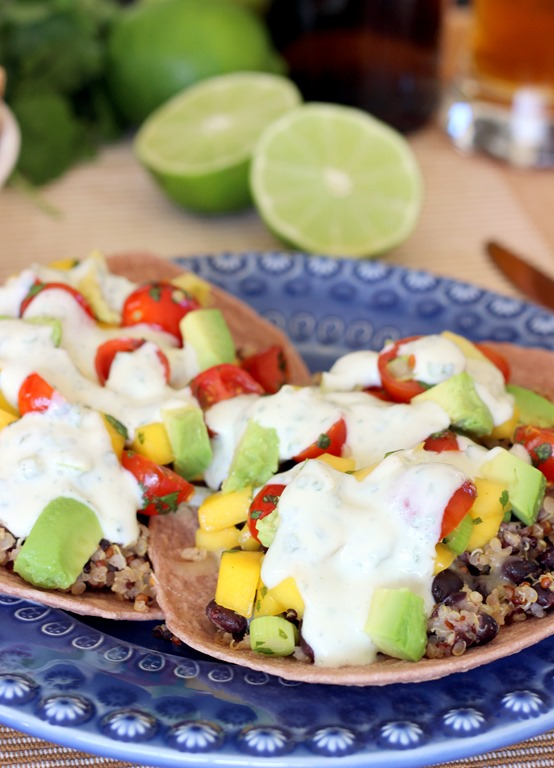 Black Bean & Quinoa Tostadas with Mango Salsa – Making Thyme for ...