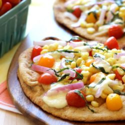Roasted Corn & Tomato Naan Pizzas with Burrata Cheese