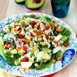 Roasted Corn Salad with Lemon-Basil Yogurt Dressing