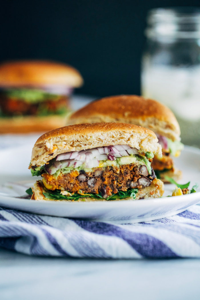Sweet Potato Black Bean Burgers- all you need is 10 ingredients to make these nutritious and flavorful veggie burgers! (vegan with gluten-free option)