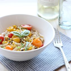 Grilled Corn & Tomato Orzo with White Wine Sauce