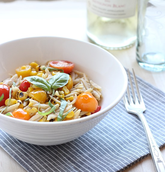 Grilled Corn & Tomato Orzo- made with a simple white wine sauce (85)