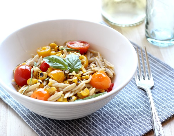 Grilled Corn & Tomato Orzo- made with a simple white wine sauce (92)