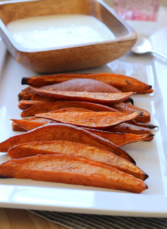 Sweet Potato Wedges with Lemongrass Yogurt Dip - Making Thyme for ...