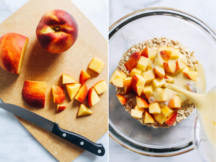 Peaches and Cream Baked Oatmeal- made with juicy peaches and dairy-free milk, this prep ahead breakfast will keep you full and satisfied for hours. Dairy-free and gluten-free with vegan option.