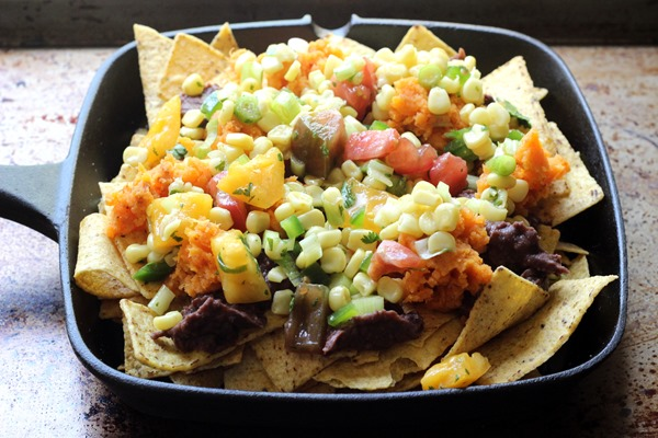 Loaded Black Bean Sweet Potato Nachos (77)