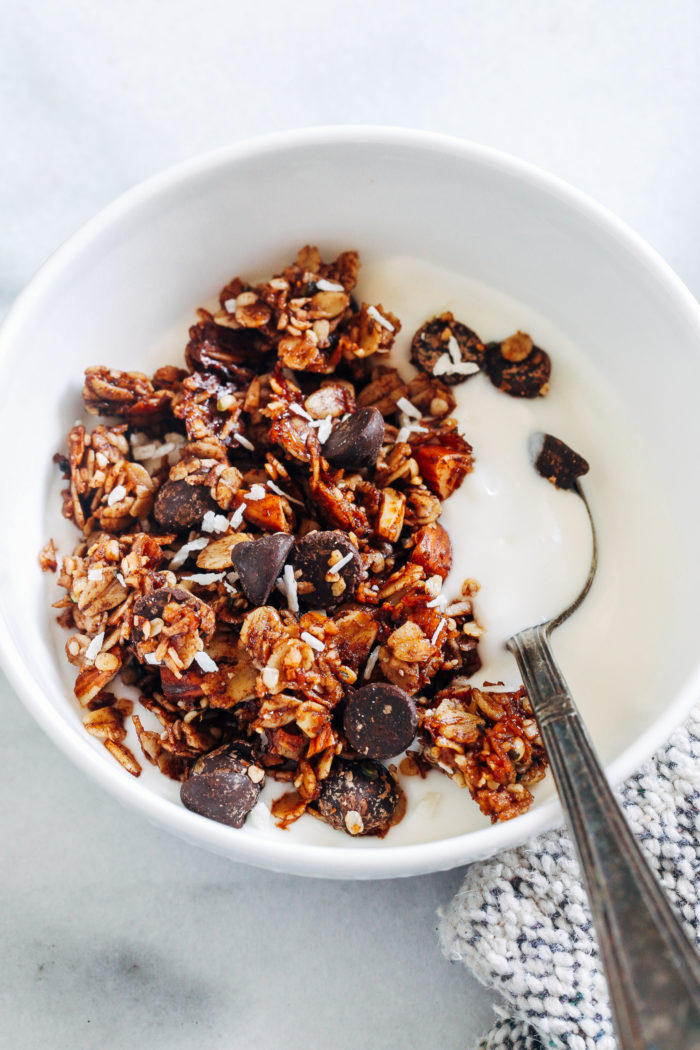 Dark Chocolate, Almond and Coconut Granola- inspired by Almond Joy candy bars, this granola is a much more nutritious way to get your candy fix! (plant-based + gluten-free)