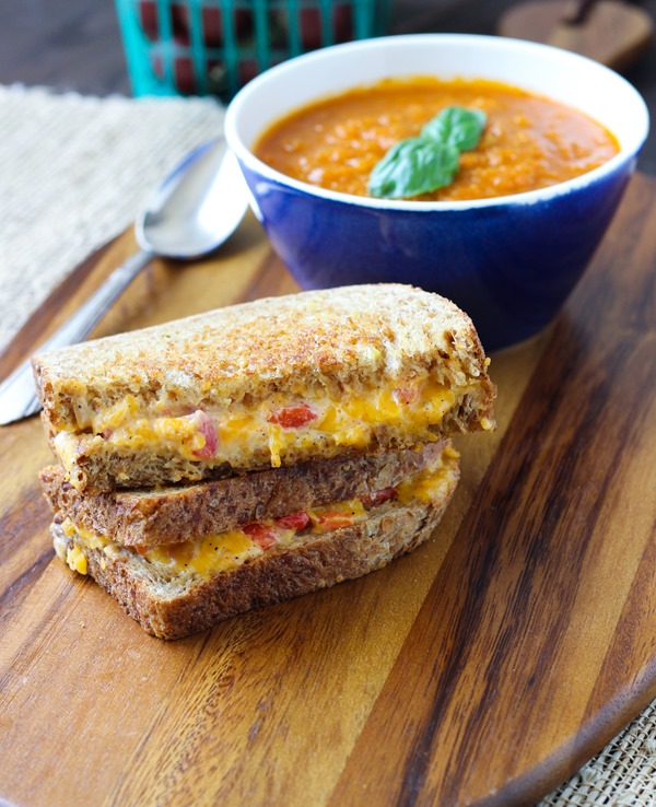 Grilled Pimento Cheese with Roasted Tomato Soup {Making Thyme for Health}