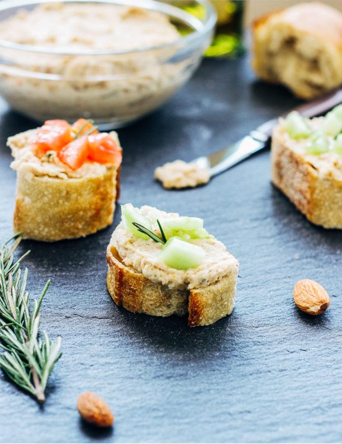 White Bean Almond and Rosemary Dip- just 5 ingredients to make an elegant dip that's perfect for entertaining. (vegan + gluten-free)