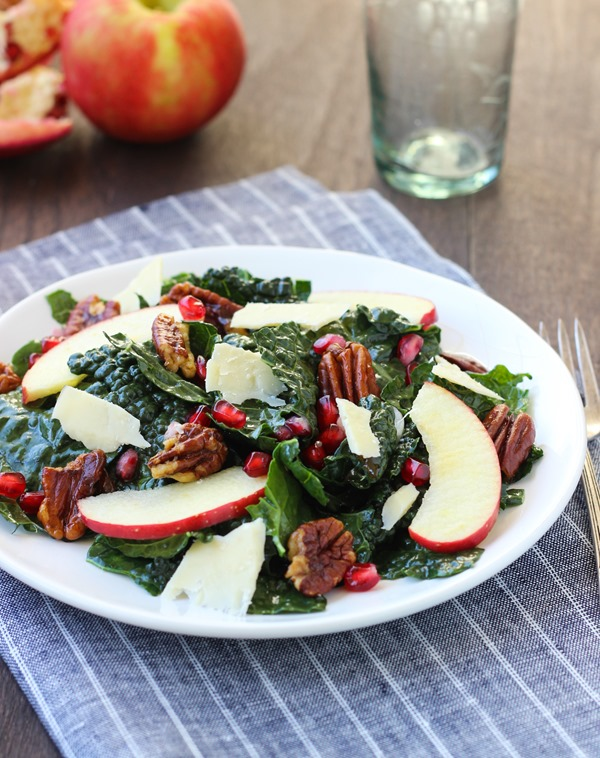 Pomegranate Kale Salad with Maple Glazed Pecans