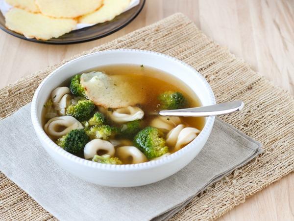 Tortellini Soup with Parmesan Crisps
