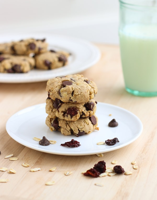 Dark Chocolate Cherry Oatmeal Cookies {vegan and gluten-free}