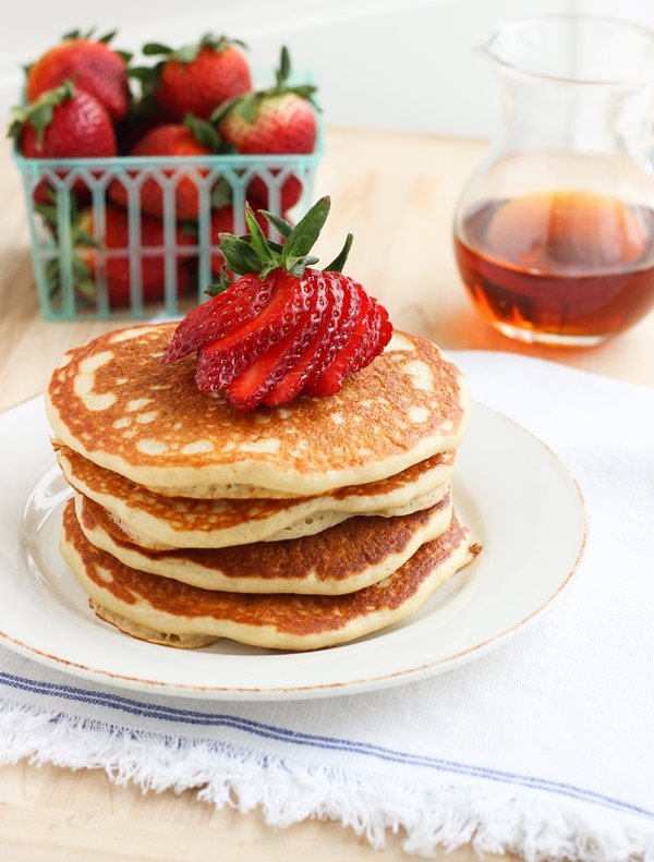 Quinoa Greek Yogurt Pancakes- so light and fluffy you'd never guess these are gluten-free.