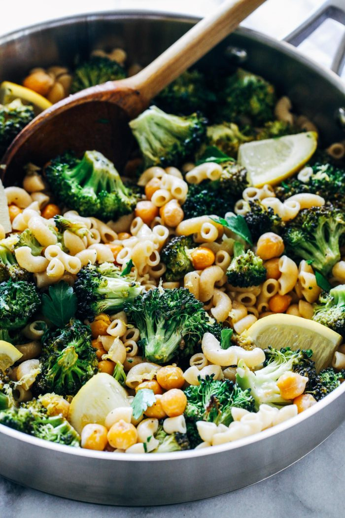 Roasted Broccoli and Chickpea Lemon Pasta- all you need is 7 ingredients and 30 minutes to make this healthy plant-based meal that's bursting with flavor! (vegan with gluten-free option)