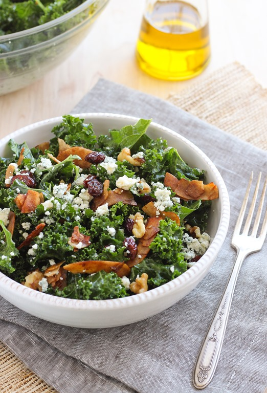 Kale Salad with Vegan Coconut Bacon