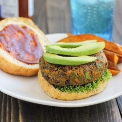 BBQ Black Bean, Kale & Sweet Potato Burgers + A Giveaway!