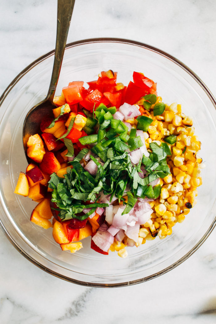 Honey-Lime Peach Salsa- Simple to make and bursting with summer flavor, this fruit salsa is the perfect side to serve at BBQ's and picnics!