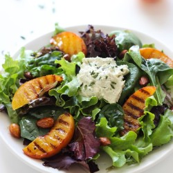 Grilled Peach Salad with Cashew Herb Cheese
