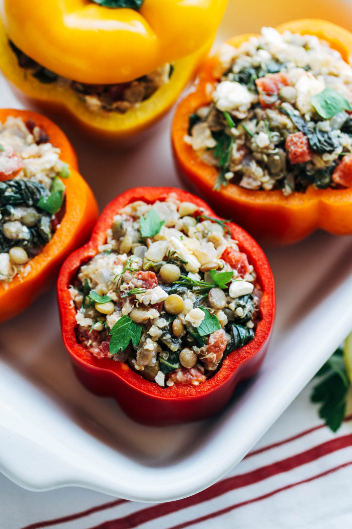 Mediterranean Quinoa Stuffed Peppers- fresh dill, lemon and feta put a healthy and flavorful Mediterranean twist on stuffed peppers. Each one has 10 grams of protein! (vegetarian) | Making Thyme for Health