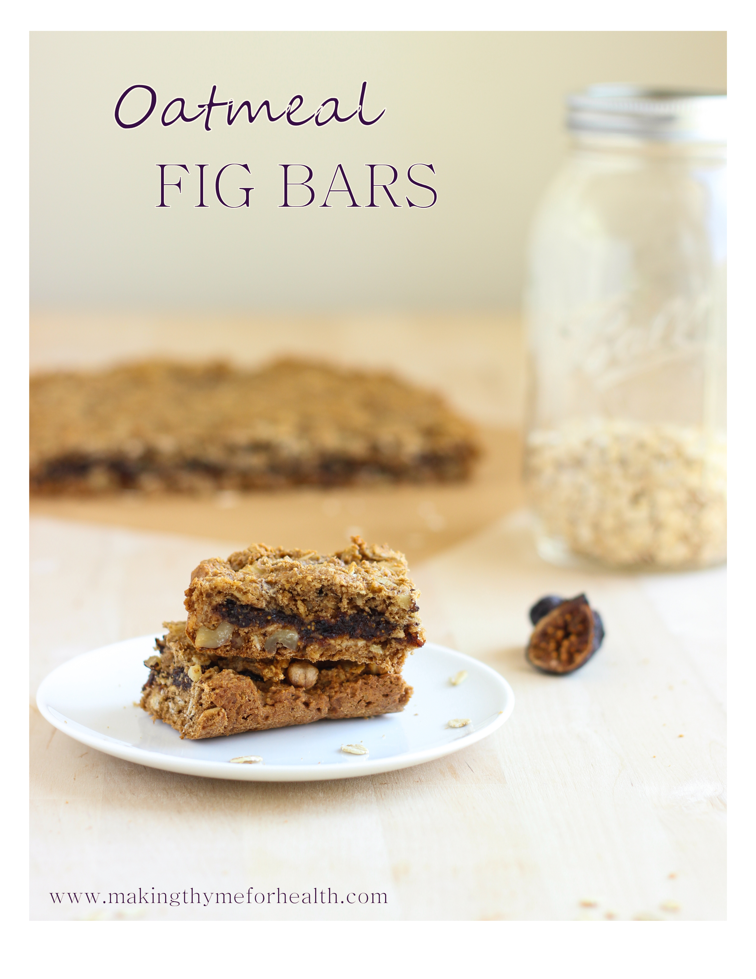 Oatmeal Fig Cookie Bars #vegan #glutenfree #refinedsugarfree | Making Thyme for Health