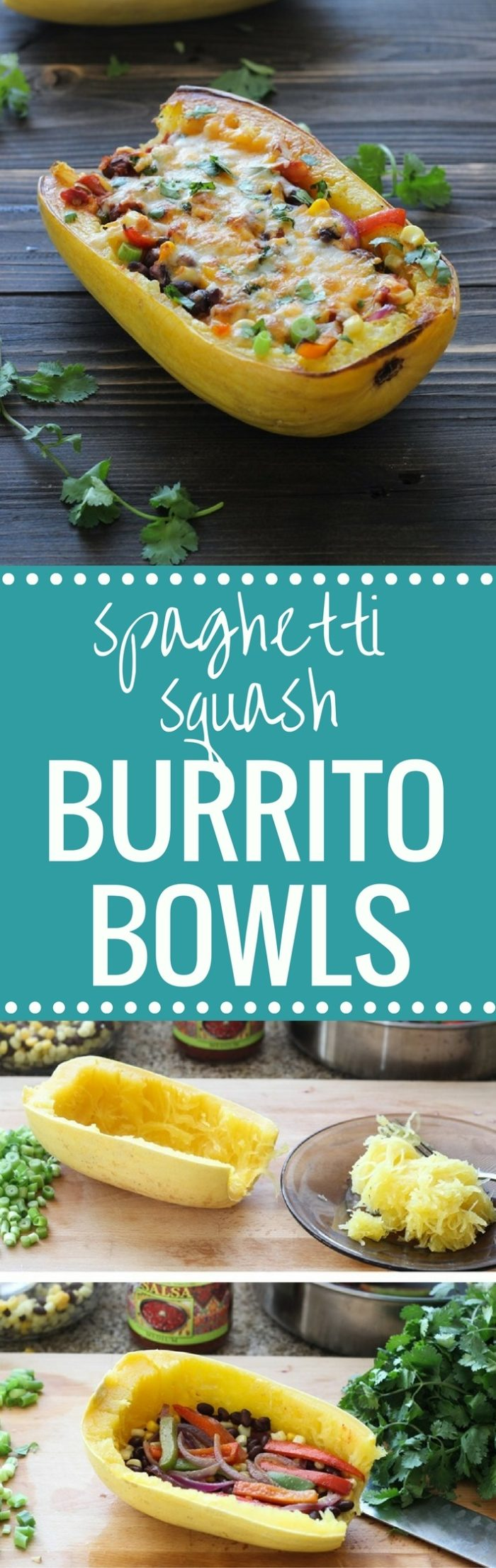 Spaghetti Squash Burrito Bowls- stuffed with veggies, salsa and beans then topped with broiled cheese. They make for a healthy and super delicious vegetarian meal!