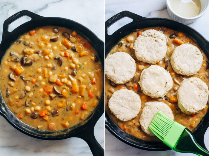Vegan Chickpea Pot Pie- made in one skillet with hearty winter vegetables, this plant-based pot pie is the perfect cozy meal on a cold winter day!