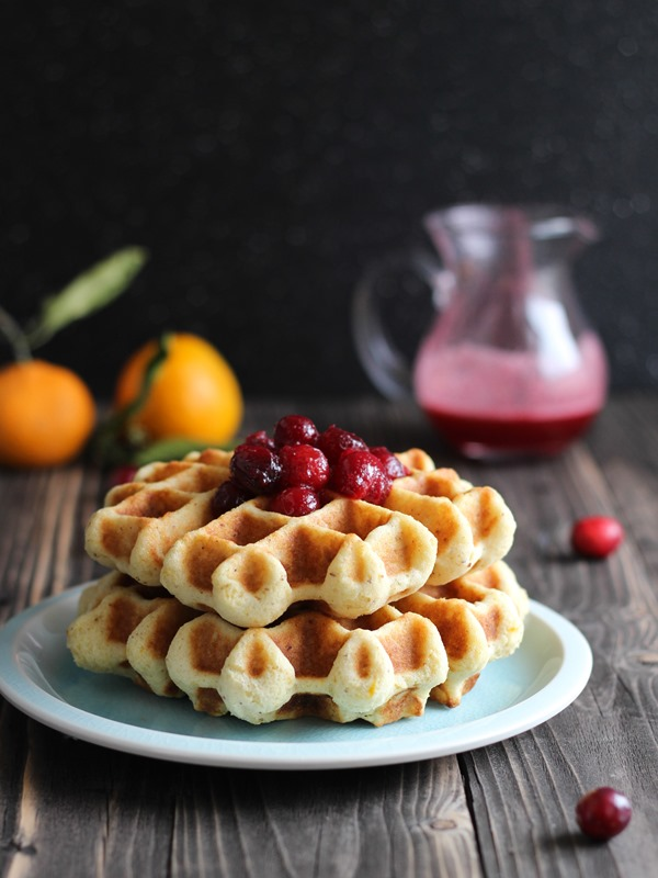 Orange Almond Waffles with Cranberry Syrup | #glutenfree #wholegrain #cleaneating