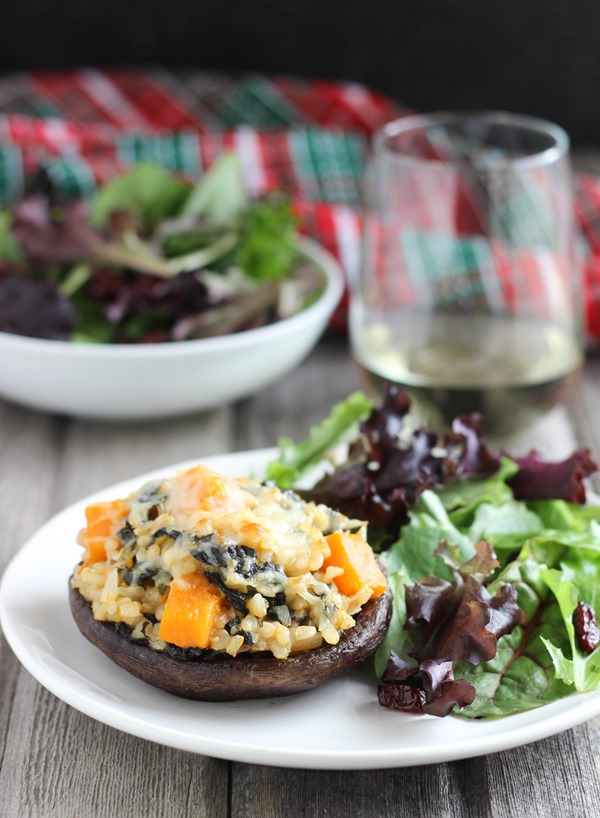 Butternut Squash Risotto Stuffed Mushrooms | the perfect gluten-free vegetarian meal for any special occasion!