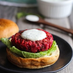 Beet Burgers with Greek Yogurt Dill Sauce