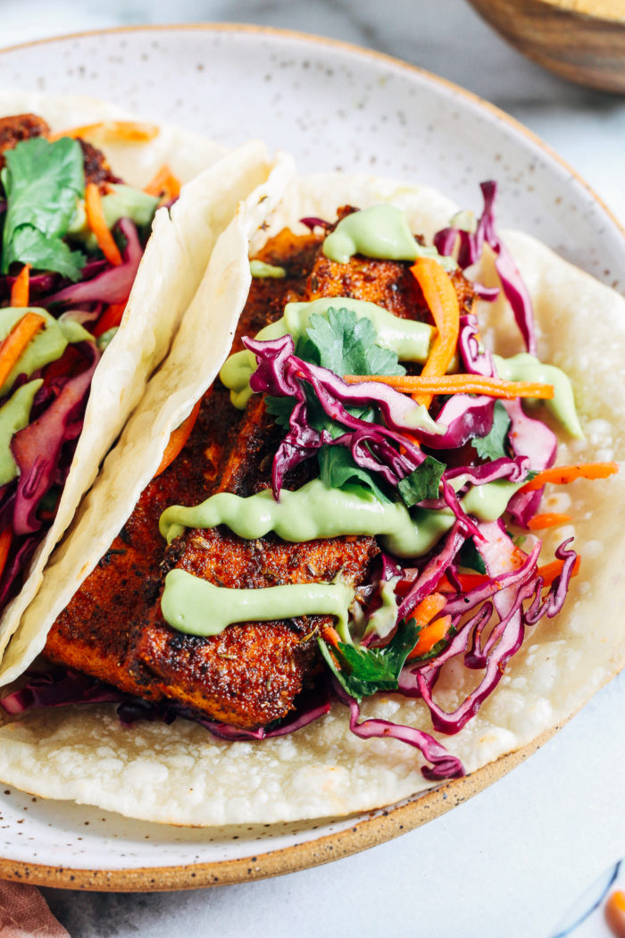 Crispy Blackened Tofu Tacos with Avocado Crema- a vegan version of blackened fish tacos, these are packed full of delicious flavor and texture!