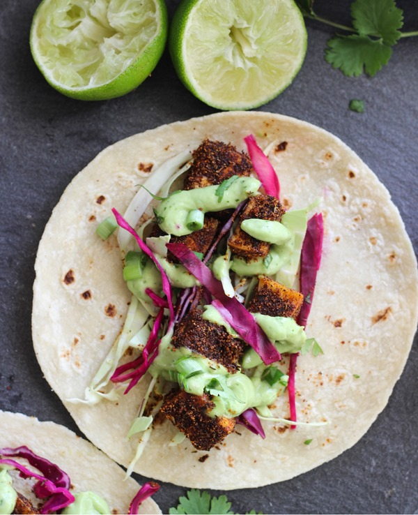 Crispy Blackened Tofu Tacos with Cabbage Slaw and Avocado -Lime Crema  #vegan #cleaneating