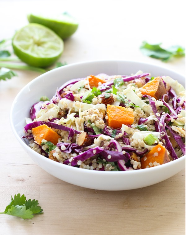Crunchy Quinoa Power Bowl with Almond Ginger Dressing #cleaneating #detox #glutenfree
