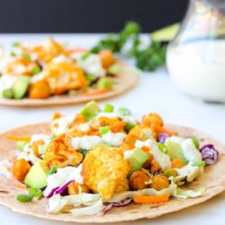 Buffalo Cauliflower and Chickpea Tacos with Vegan Blue Cheese Sauce