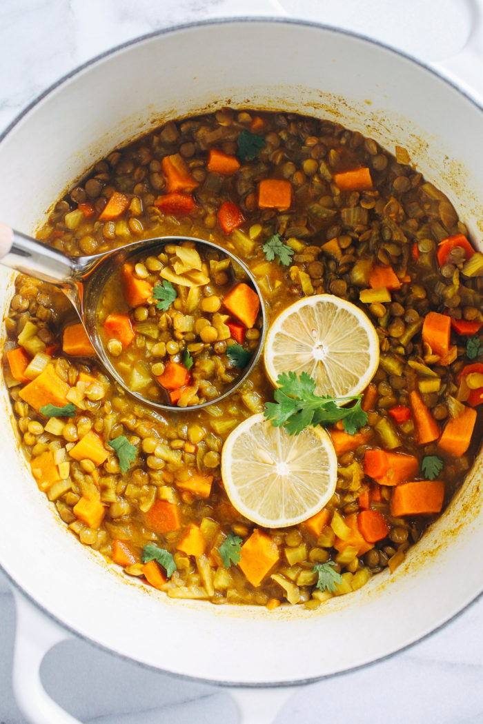 Healing Moroccan Lentil Soup- made with a blend of Moroccan-inspired spices, this lentil soup is packed full of flavor and nutrition. (vegan + gluten-free)