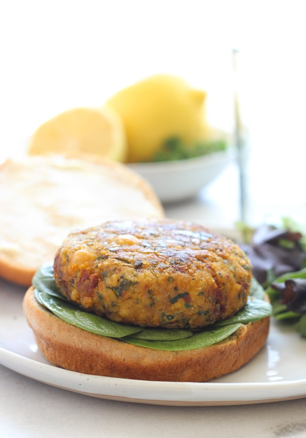 Vegan Mediterranean Chickpea Burgers from Making Thyme for Health