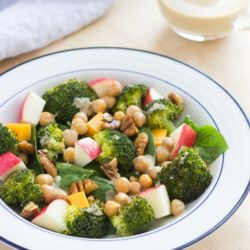 Broccoli, Apple, & Cheddar Salad with Creamy Honey Mustard Vinaigrette