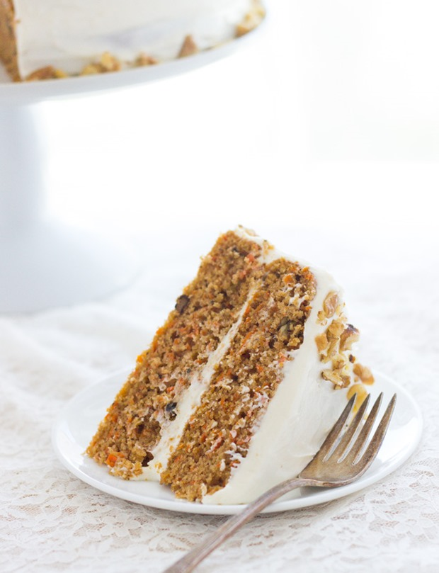 Carrot Cake with Greek Yogurt and Cream Cheese Frosting- so moist and decadent, you'd never guess it's made with healthy gluten-free flours!