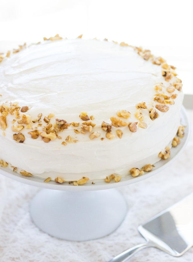 Carrot Cake with Greek Yogurt and Cream Cheese Frosting- so moist and decadent, you'd never know this cake was made from healthy gluten-free flours!