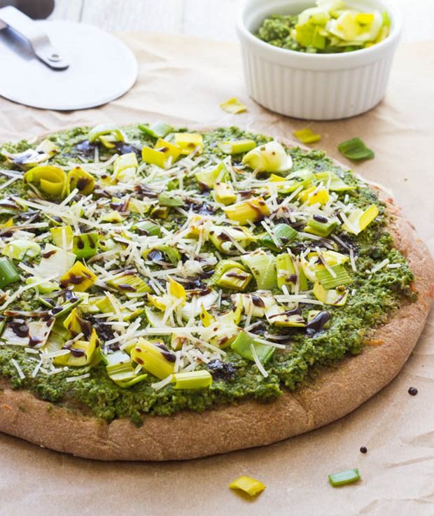 Mustard Green and Pea Pesto Pizza | makingthymeforhealth.com