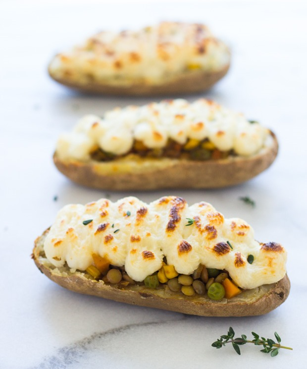 Twice Baked Lentil Shepherd's Pie Potatoes #vegetarian #glutenfree