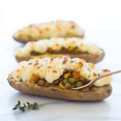 Twice Baked Lentil Shepherd's Pie Potatoes