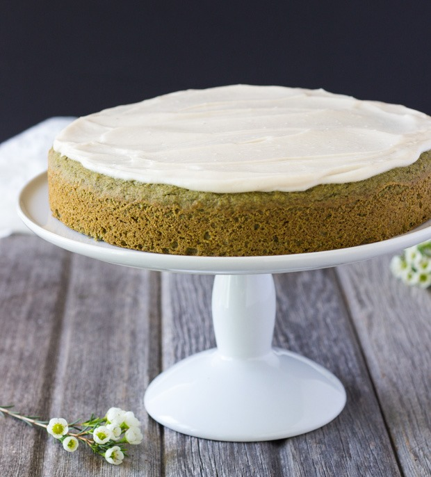 Vegan Matcha Cake with Vanilla Lemon Cream Frosting