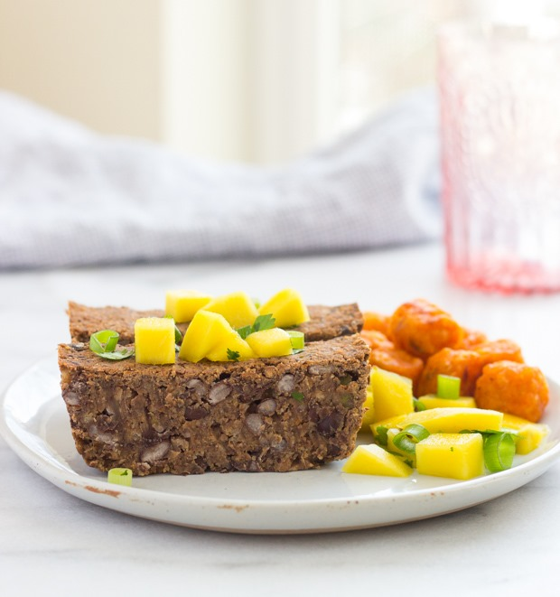 Spicy Black Bean Loaf with Mango Salsa | makingthymeforhealth.com #vegan #glutenfree