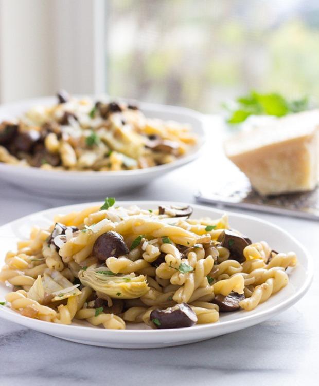 Artichoke and Mushroom Marsala Pasta