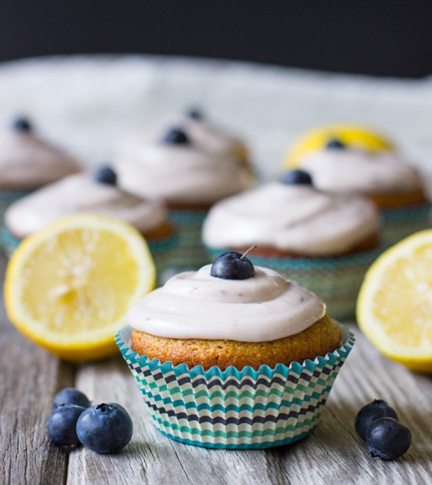 Lemon Cupcakes with Fresh Blueberry Icing | Made with gluten-free ...