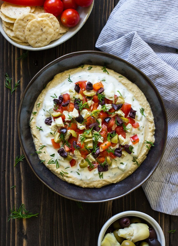 Three Layer Mediterranean Hummus Dip