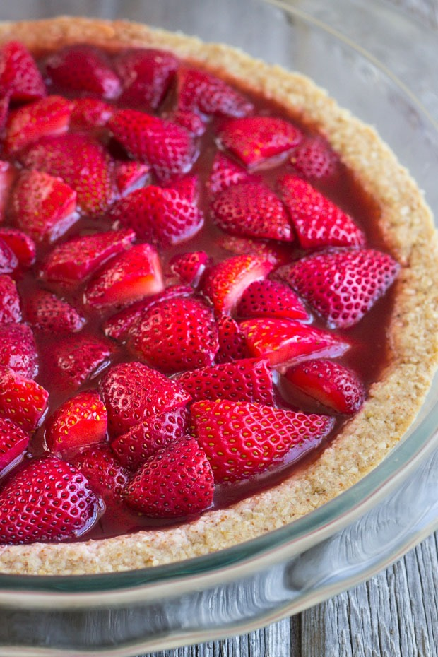 No-Bake Strawberry Pie in a Toasted Almond Crust. A deliciously light dessert that's perfect for summer! Vegan and gluten-free.